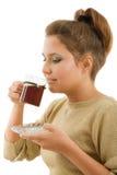 美丽的咖啡杯女孩 免版税库存照片