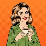 美丽的咖啡杯妇女 流行艺术 图库摄影