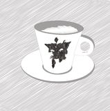 美丽的咖啡杯用咖啡和狗 库存图片