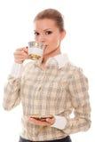 美丽的咖啡饮料妇女年轻人 免版税库存图片