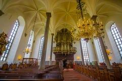 美丽的哥特式教会在Kristianstad,瑞典 免版税图库摄影