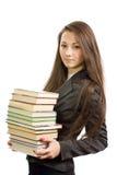 美丽的图书管理员年轻人 库存图片