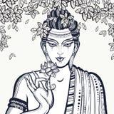 美丽的图表菩萨面对在Bodhi树 手拉的优质传染媒介构成 精神和宗教动机 图库摄影