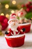 美丽的圣诞老人杯形蛋糕 库存图片