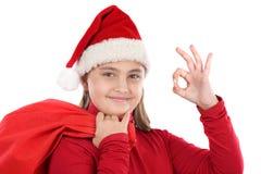 美丽的圣诞节女孩帽子好的说法 免版税库存图片
