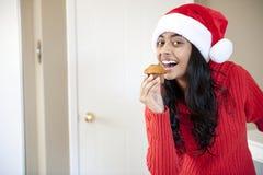 美丽的圣诞节女孩纵向  库存图片