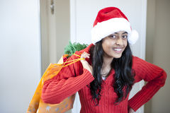 美丽的圣诞节女孩纵向  免版税图库摄影