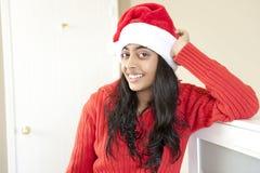 美丽的圣诞节女孩纵向  库存照片