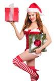 美丽的圣诞节女孩 库存图片
