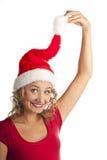 美丽的圣诞节妇女。 新年度庆祝。 库存图片