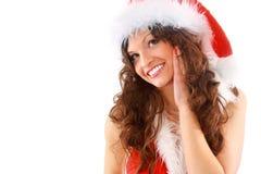 美丽的圣诞节妇女 免版税库存照片