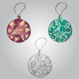 美丽的圣诞节球 乱画种族风格化设计 免版税库存照片