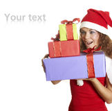 美丽的圣诞节礼品女孩惊奇 库存照片