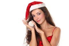 美丽的圣诞节红色妇女 免版税库存图片