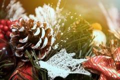 美丽的圣诞节装饰:一棵圣诞树的锥体和分支在雪下的 免版税库存照片
