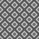美丽的在黑n白色的花无缝的样式背景例证 库存例证