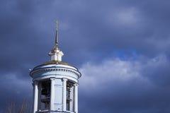 美丽的基督教会在蓝色多云天空的背景中 免版税图库摄影