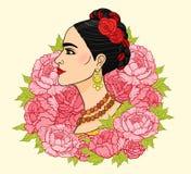 美丽的墨西哥妇女的画象一种古老发型 库存例证
