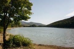 美丽的夏天湖和山 免版税库存照片