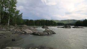 美丽的夏天风景山河Katun Timelapse视图 股票录像