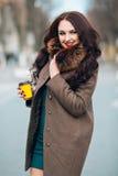 美丽的外套毛皮豪华妇女 棕色外套的时髦的深色的妇女 年轻性感的肉欲的诱人的妇女与 免版税库存图片