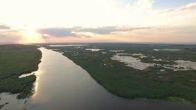 美丽的多瑙河三角洲国家公园,鸟瞰图 股票录像
