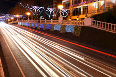 美丽的夜街道 免版税库存照片