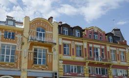 美丽的大厦在街市普罗夫迪夫,保加利亚 免版税图库摄影