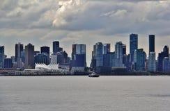 美丽的大厦,地平线,煤炭港口在温哥华市中心,不列颠哥伦比亚省 库存照片
