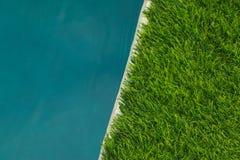 美丽的大海和人为草皮绿草 ?? 图库摄影