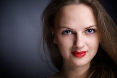 美丽的大眼睛纵向妇女年轻人 库存照片