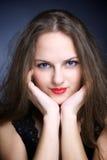 美丽的大眼睛纵向妇女年轻人 库存图片