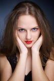 美丽的大眼睛纵向妇女年轻人 图库摄影