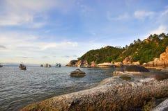 美丽的天空和海滩早晨 免版税库存照片