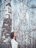 美丽的夫人在桦树森林里 免版税库存照片