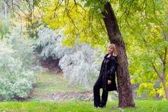 美丽的夫人在秋天公园 库存照片
