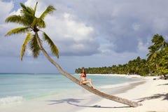 美丽的夫人坐棕榈树在热带海滩 免版税图库摄影