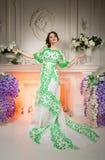 美丽的夫人穿戴了有站立在典雅的白色内部的火车的豪华礼服装饰自然花 图库摄影