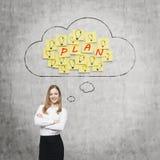 美丽的夫人考虑未来经营计划 云彩和黄色贴纸与词'计划' 免版税库存照片