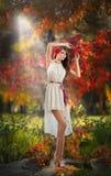 美丽的夫人画象在森林里。有神仙的神色的女孩在秋季射击。有秋季的女孩组成和发型 免版税库存图片