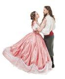 美丽的夫妇妇女和人中世纪衣裳的 库存图片