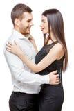 美丽的夫妇愉快的纵向微笑的年轻人 库存照片