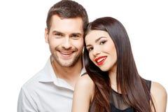 美丽的夫妇愉快的纵向微笑的年轻人 图库摄影