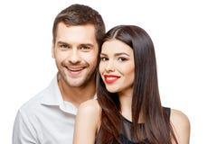 美丽的夫妇愉快的纵向微笑的年轻人 免版税库存照片
