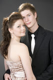 美丽的夫妇拥抱纵向年轻人 免版税库存图片