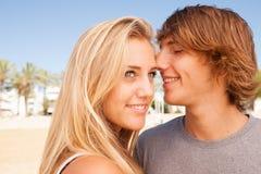 年轻美丽的夫妇特写镜头画象 库存照片
