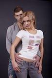 美丽的夫妇纵向年轻人 免版税图库摄影