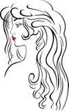 美丽的头发长的妇女 皇族释放例证