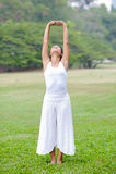 美丽的女子实践的瑜伽在公园 免版税图库摄影