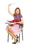 美丽的女学生用被举的手 库存图片
